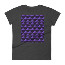 Load image into Gallery viewer, Paper Hats Pattern | Dark Violet | Women's Short-Sleeve T-Shirt-t-shirts-Heather Dark Grey-S-Eggenland