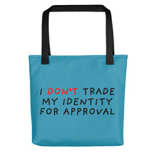 Load image into Gallery viewer, Don't Trade Identity | Blue | Tote bag-tote bags-Black-Eggenland