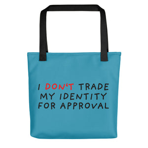 Don't Trade Identity | Blue | Tote bag-tote bags-Black-Eggenland