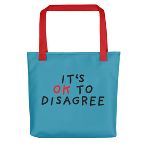 It's OK to Disagree | Blue | Tote Bag-tote bags-Red-Eggenland