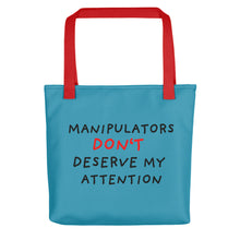 Load image into Gallery viewer, No Attention to Manipulators | Blue | Tote Bag-tote bags-Red-Eggenland