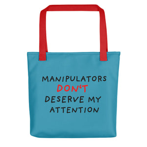 No Attention to Manipulators | Blue | Tote Bag-tote bags-Red-Eggenland