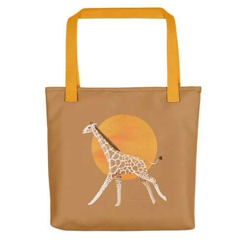 Giraffe and Sun | Light Brown | Tote Bag-tote bags-Yellow-Eggenland