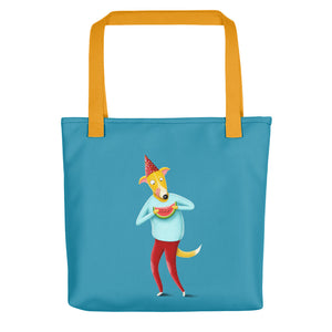 Dog with Watermelon | Blue | Tote Bag-tote bags-Yellow-Eggenland