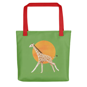 Giraffe and Sun | Green | Tote Bag-tote bags-Red-Eggenland