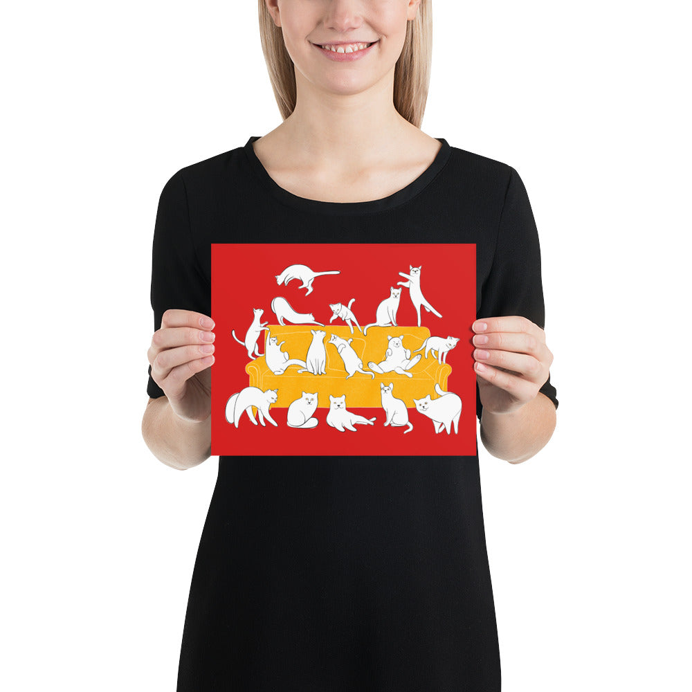 Cats Party | Red | Poster-posters-8×10-Eggenland