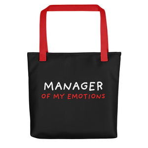 Manager of My Emotions | Black | Tote Bag-tote bags-Red-Eggenland