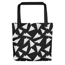 Load image into Gallery viewer, Paper Planes Pattern | Black and White | Tote Bag-tote bags-Black-Eggenland