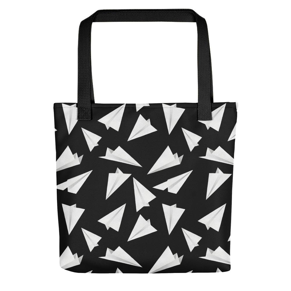 Paper Planes Pattern | Black and White | Tote Bag-tote bags-Black-Eggenland