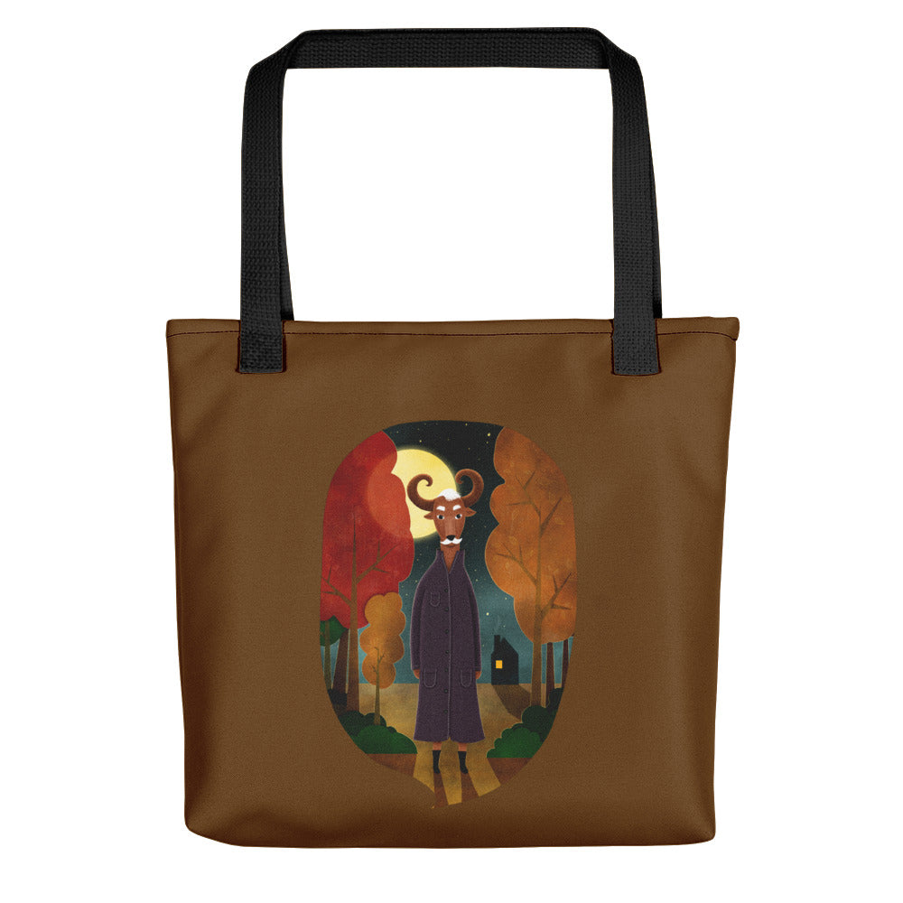 Deer Creature at Night | Brown | Tote Bag-tote bags-Black-Eggenland