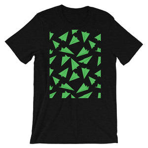 Paper Planes Pattern | Green | Short-Sleeve Unisex T-Shirt-t-shirts-Black Heather-S-Eggenland