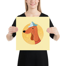 Load image into Gallery viewer, Dog with Newspaper Hat | Yellow | Poster-posters-14×14-Eggenland