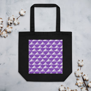 Newspaper Hats Pattern | Violet | Eco Tote Bag-tote bags-Black-Eggenland
