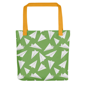 Paper Planes Pattern | Green and White | Tote Bag-tote bags-Yellow-Eggenland