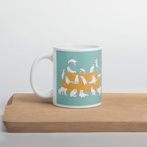Cats Party | Turquoise | Mug-mugs-11oz-Eggenland