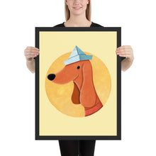 Load image into Gallery viewer, Dog With Newspaper Hat | Yellow | Illustration | Framed Poster-framed posters-Black-18×24-Eggenland