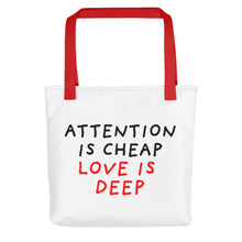 Load image into Gallery viewer, Attention Is Cheap | Tote Bag-tote bags-Red-Eggenland