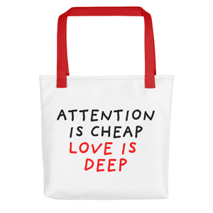 Attention Is Cheap | Tote Bag-tote bags-Red-Eggenland