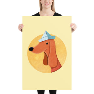 Dog with Newspaper Hat | Yellow | Poster-posters-24×36-Eggenland