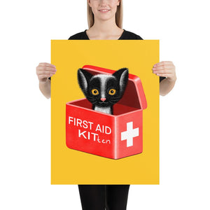 First Aid Kitten | Illustration | Yellow | Poster-posters-18×24-Eggenland
