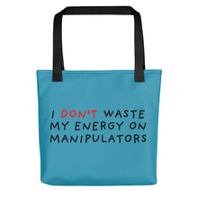 Load image into Gallery viewer, Don't Waste Energy | Blue | Tote bag-tote bags-Black-Eggenland