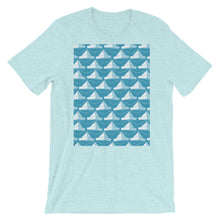 Load image into Gallery viewer, Paper Hats Pattern | Blue | Short-Sleeve Unisex T-Shirt-t-shirts-Heather Prism Ice Blue-S-Eggenland