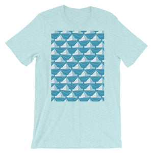Paper Hats Pattern | Blue | Short-Sleeve Unisex T-Shirt-t-shirts-Heather Prism Ice Blue-S-Eggenland