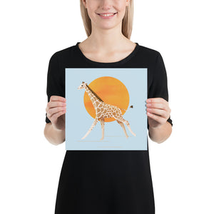 Giraffe and Sun | Blue | Poster-posters-10×10-Eggenland