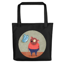 Load image into Gallery viewer, Bear and Butterfly | Black | Tote Bag-tote bags-Black-Eggenland