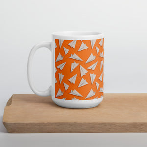 Paper Planes Pattern | Orange | Mug-mugs-15oz-Eggenland