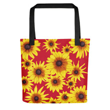 Load image into Gallery viewer, Blooming Flowers | Red | Tote Bag-tote bags-Black-Eggenland