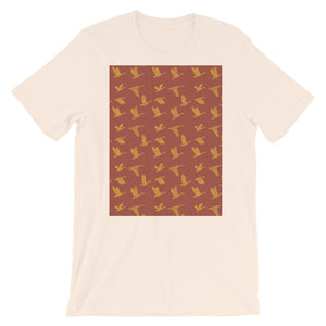 Flying Birds Pattern | Red | Short-Sleeve Unisex T-Shirt-t-shirts-Soft Cream-S-Eggenland