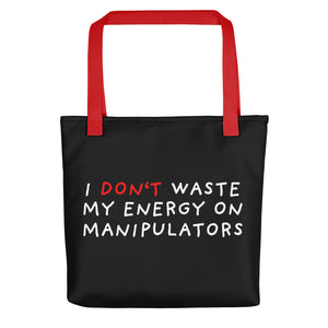 Don't Waste Energy | Black | Tote bag-tote bags-Red-Eggenland