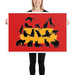 Black Cats Party | Red | Illustration | Framed Poster-framed posters-White-24×36-Eggenland