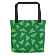 Load image into Gallery viewer, Paper Planes Pattern | Green | Tote Bag-tote bags-Black-Eggenland