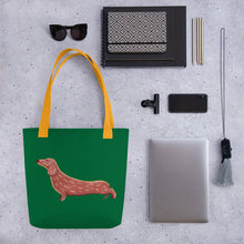 Load image into Gallery viewer, Cute Dachshund Dog | Green | Tote Bag-tote bags-Eggenland