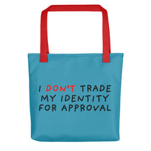 Load image into Gallery viewer, Don't Trade Identity | Blue | Tote bag-tote bags-Red-Eggenland