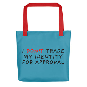 Don't Trade Identity | Blue | Tote bag-tote bags-Red-Eggenland