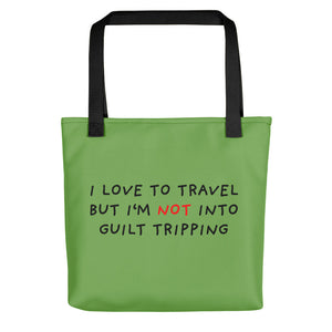 No Guilt Tripping | Green | Tote Bag-tote bags-Black-Eggenland