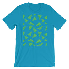 Load image into Gallery viewer, Paper Planes Pattern | Green | Short-Sleeve Unisex T-Shirt-t-shirts-Aqua-M-Eggenland
