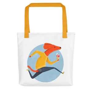 Dog with Ice Cream | White | Tote Bag-tote bags-Yellow-Eggenland