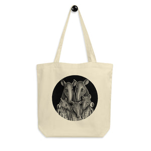 Tapir Family | Black and White Illustration | Eco Tote Bag-tote bags-Eggenland