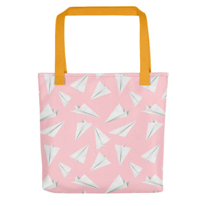 Paper Planes Pattern | Pink and White | Tote Bag-tote bags-Yellow-Eggenland