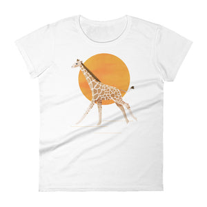 Giraffe and Sun | Women's Short-Sleeve T-Shirt-t-shirts-White-S-Eggenland