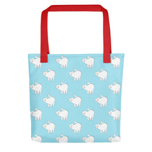 Load image into Gallery viewer, Cute Cat Pattern | Light Blue and White | Tote Bag-tote bags-Red-Eggenland