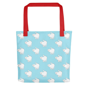 Cute Cat Pattern | Light Blue and White | Tote Bag-tote bags-Red-Eggenland