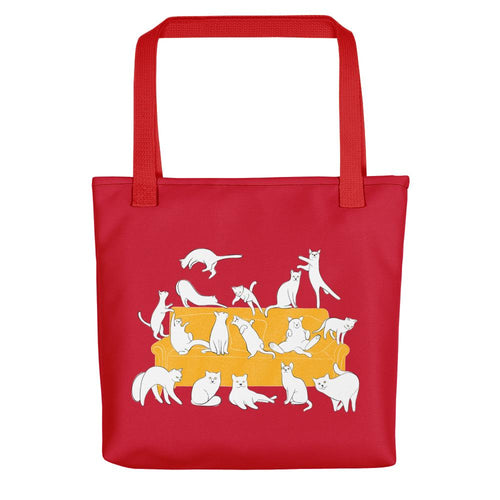 Cats Party | Red | Tote Bag-tote bags-Red-Eggenland