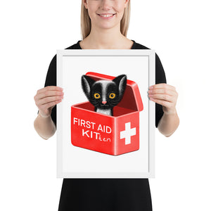 First Aid Kitten | Illustration | Framed Poster-framed posters-White-12×16-Eggenland
