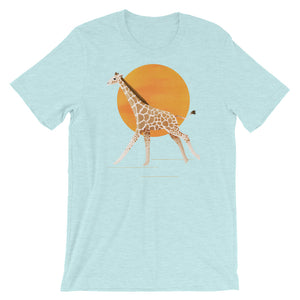 Giraffe and Sun | Short-Sleeve Unisex T-Shirt-t-shirts-Heather Prism Ice Blue-S-Eggenland