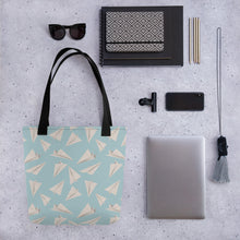 Load image into Gallery viewer, Paper Planes Pattern | Blue | Tote Bag-tote bags-Eggenland